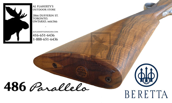 "Beretta 486 Parallelo Side-By-Side Shotgun with Floreal Engraving, 12 or 20 Gauge, 3"" Chamber, 28"" Barrel #J486210"
