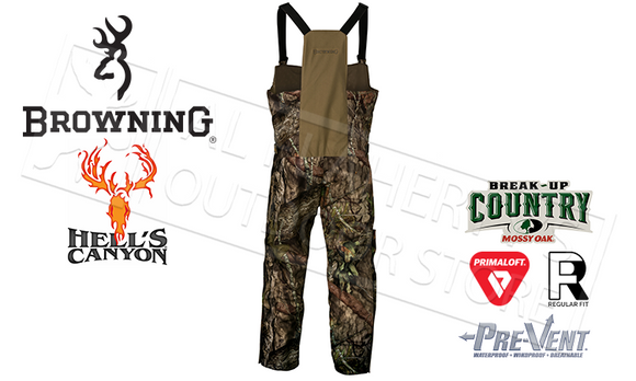 Browning Hell's Canyon BTU Bib Pants in Mossy Oak Break-Up Country Camo, M-XL #30659628