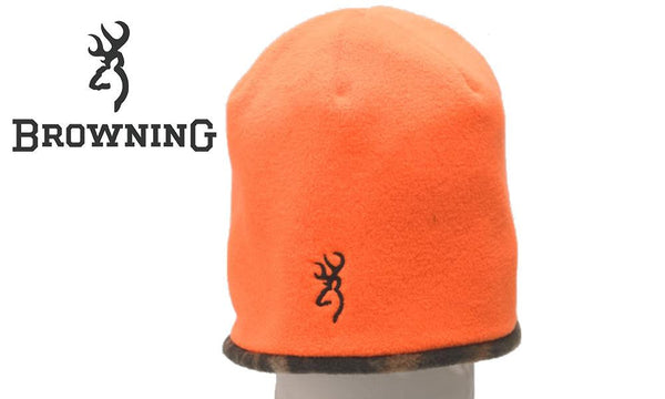 Browning Reversible Fleece Beanie, Mossy Oak Break-Up and Blaze Orange #308511011