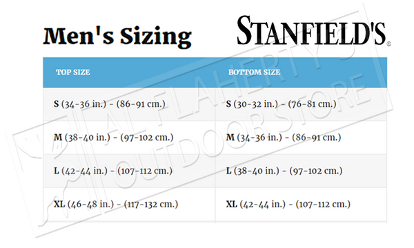Stanfield's Clothing Size Chart