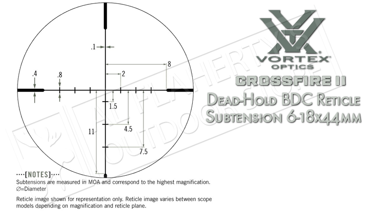 Vortex Crossfire II Scope 6-18x44mm with Dead-Hold BDC Reticle (MOA) #CF2-31033