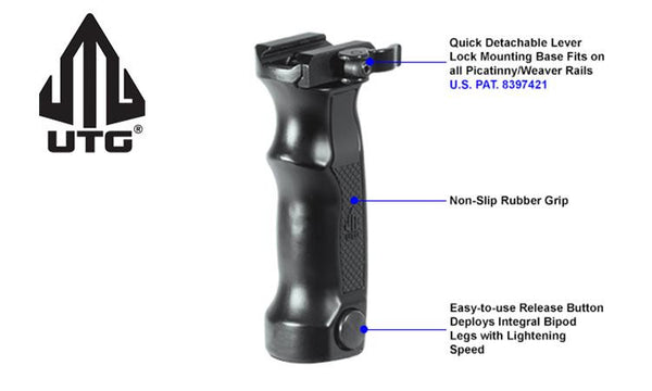 UTG Combat D Grip with Quick Release Deployable Bipod #MNT-DG01Q