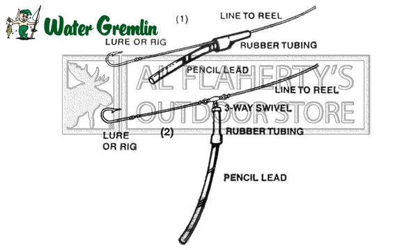 "Water Gremlin Pencil Lead Sinkers, 1/2 lb. Bags with 4"" Rubber Tube Included, 1/8"", 3/16"", and 1/4"" Diameter #PPL"
