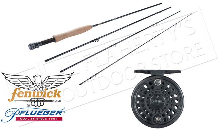 Fenwick Pflueger Night Hawk Fly Kit, 9ft 6WT or 5WT 4-Piece Rod with Reel #NM/4CBO