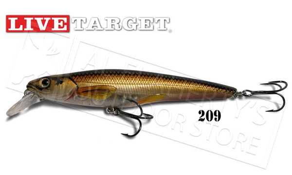LiveTarget Rainbow Smelt Jerkbait, Ghost/Bronze 209 #RS115S