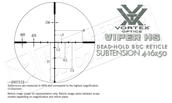 Vortex Viper HS Riflescope, 4-16x50mm with Dead-Hold BDC Reticle #VHS-4307