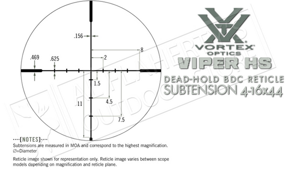 Vortex Viper HS Riflescope, 4-16x44mm with Dead-Hold BDC Reticle #VHS-4305