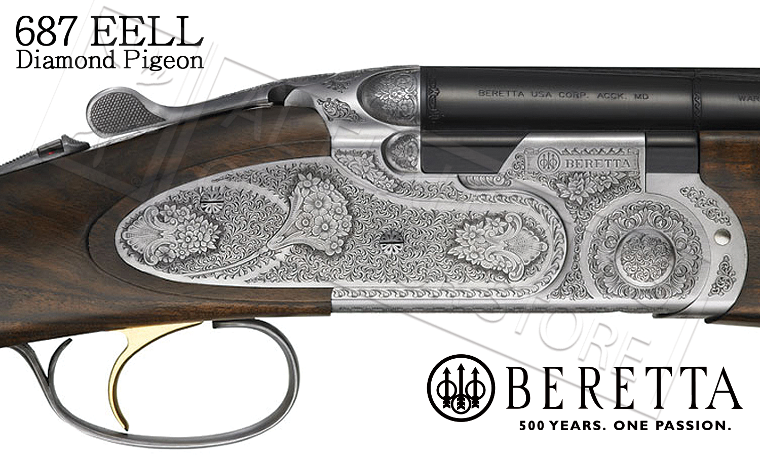 ... Beretta 687 EELL Diamond Pigeon Over-Under Field Shotgun with Floral  Engraving, 12 or ...