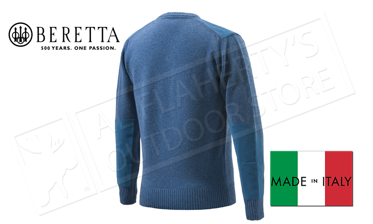 Beretta V-Neck Sweater in Avio Blue, L-XL #PU451T1194