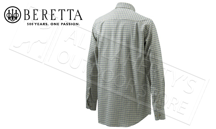 Beretta Sport Classic Button Down Shirt, White Check, L-2XL #LUA10T0706