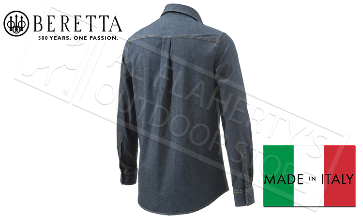 Beretta Classic Denim Shirt, Sizes 40-44 Italian #LU182T123581