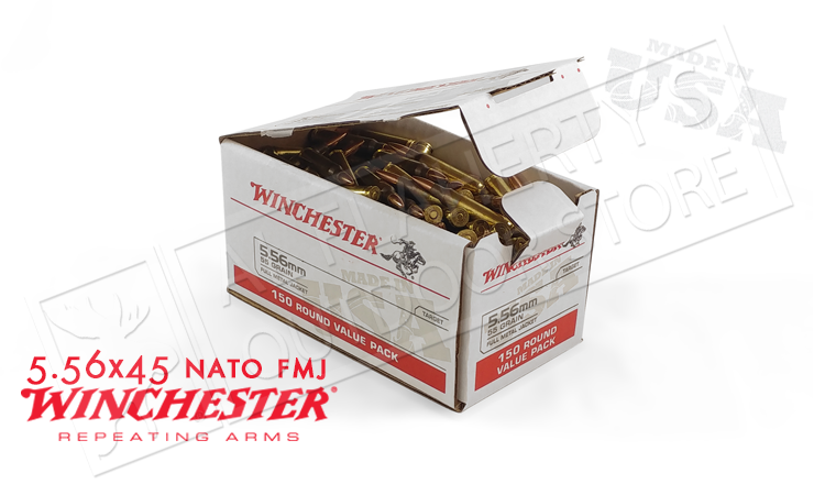 Winchester 5.56x45 Bulk, 55 Grain FMJ Box of 150 #USA556L1