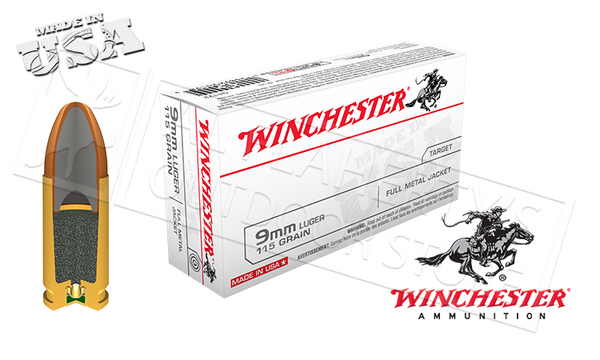 Winchester 9mm FMJ, 110 Grain Box of 50 #Q4172
