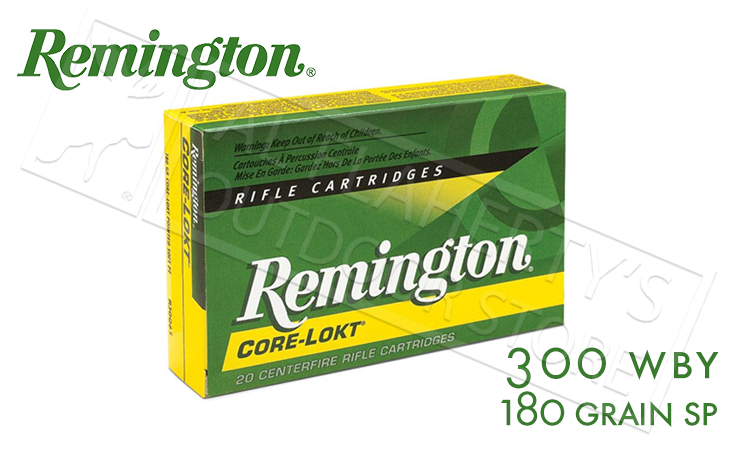 Remington 300 WBY Core-Lokt, Soft Point 180 Grain Box of 20 #R300WB1