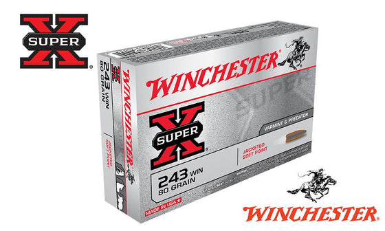 Winchester Super X, 243 Win, Jacketed Soft Point, 80 Grain Box of 20 #X2431