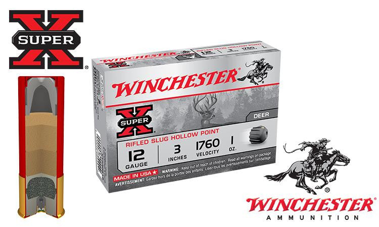 "<b>(Store Pickup Only)</b><br> 12 Gauge, Winchester Super X Rifled Slugs, Hollow Point, 3"" Box of 5 #X123RS15"