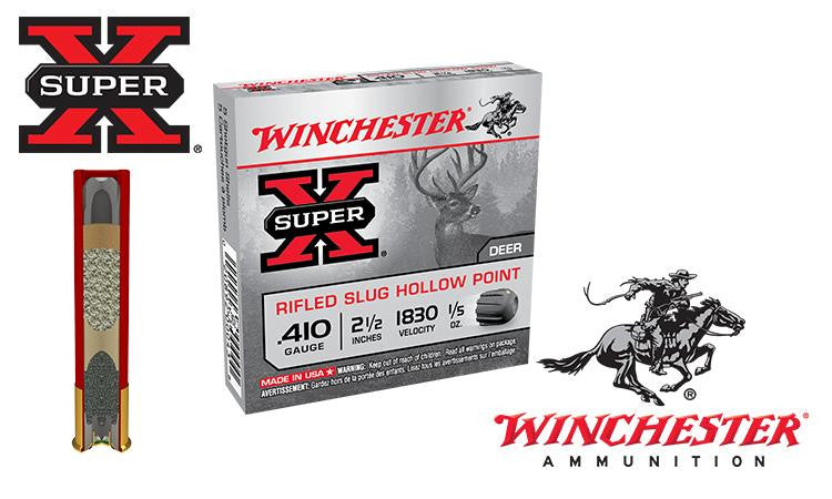 "<b>(Store Pickup Only)</b><br> .410 Gauge - Winchester Super X Rifled Slugs, Hollow Point, 2-1/2"" Box of 5 #X41RS5"