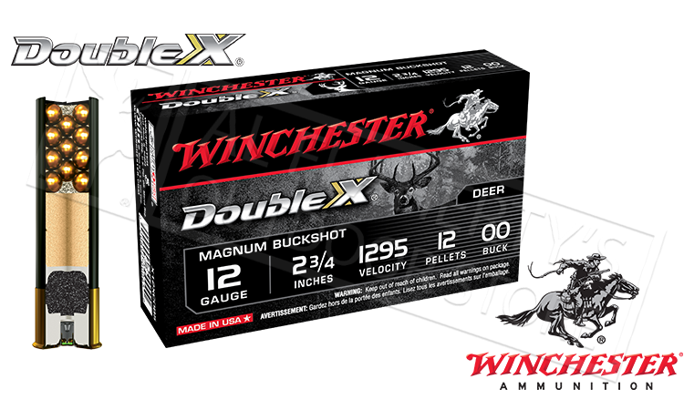 "12 Gauge - Winchester Double X Buckshot Shells, 2-3/4"" 00-Buck, Box of 5 #X12XC0B5"