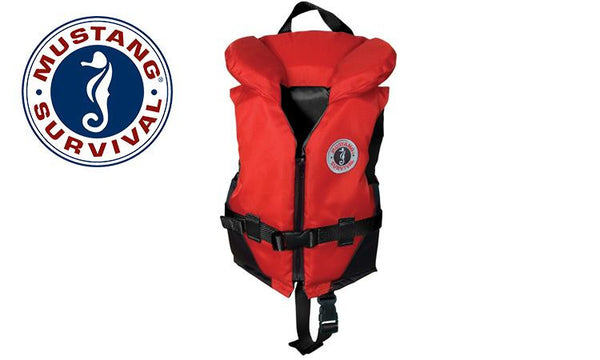 Mustang Classic PFD - Youth Size 60 to 90 lbs., Red & Black #MV1207