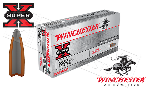Winchester 222 Rem Super-X, JSP 50 Grain Box of 20 #X222R