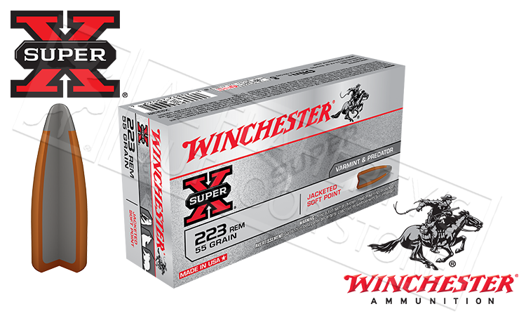 Winchester 223 Rem Super-X, JSP 55 Grain Box of 20 #X223R