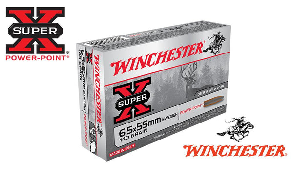 <b>(Store Pickup Only)</b><br>Winchester Super X, 6.5x55 Swedish Soft Point, 140 Grain Box of 20 #X6555