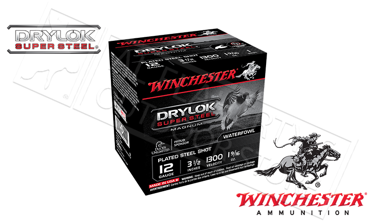 "12 Gauge - Winchester Drylok Super Steel Waterfowl Shells, 3-1/2"", #1 #2 or #BB 1-9/16 oz. 1300fps, Box of 25 #XSM12L"