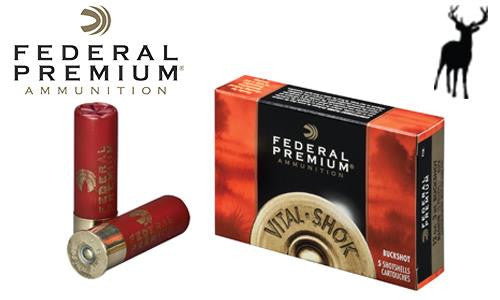 "<b>(Store Pickup Only)</b><br> 12 Gauge - Federal Premium Vital Shok Magnum Buckshot Shells, 3"" 4-Buck, Box of 5 #P1584B"