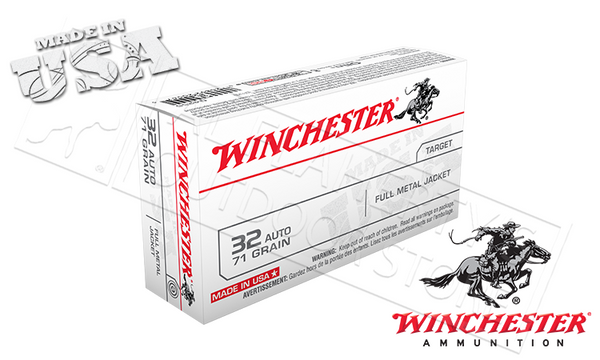 Winchester 32 Auto White Box, FMJ 71 Grain Box of 20 #Q4255