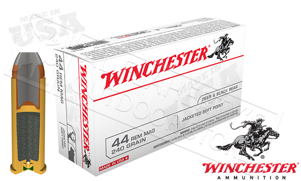 (Store Pickup Only) Winchester 44 Rem Mag, 240 Grain Jacketed Soft Point, Box of 50 #Q4240