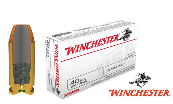Winchester .40S&W White Box, TFMJ 180 Grain Box of 50 #Q4238