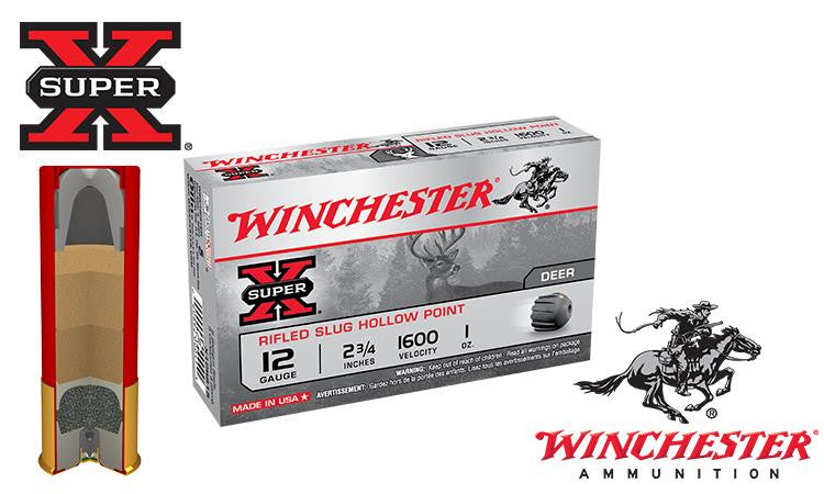 "<b>(Store Pickup Only)</b><br> 12 Gauge, Winchester Super X Rifled Slugs, Hollow Point, 2-3/4"" Box of 5 #X12RS15"