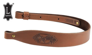 "Levy's Leathers Stag Head Leather Sling, 28"" - 36"" Oil-Tan Natural Finish #SN26D-NAT"
