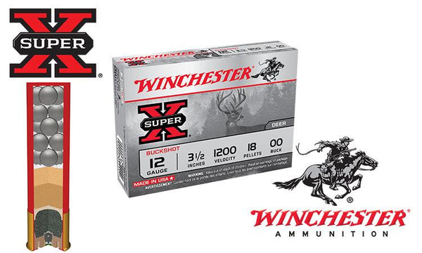 "<b>(Store Pickup Only)</b><br> 12 Gauge - Winchester Super X Buckshot, 3-1/2"" 000-Buck, Box of 5 #XB12L00"