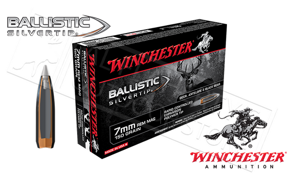 Winchester 7mm Rem Mag Ballistic Silvertip, Polymer Tipped 150 Grain Box of 20 #SBST7