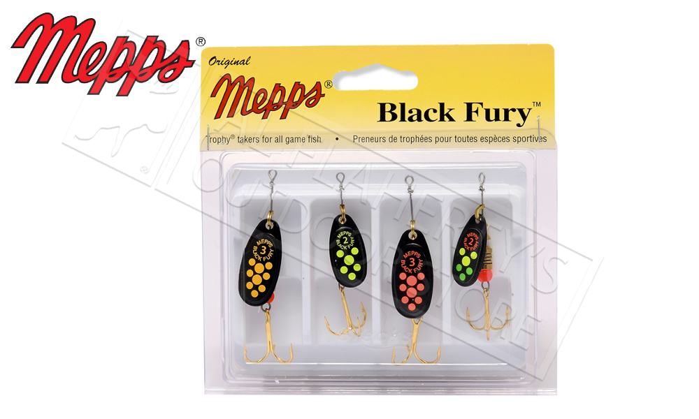 Mepps Kit - Black Fury 4-Pack, Size 2-3 #4-BF