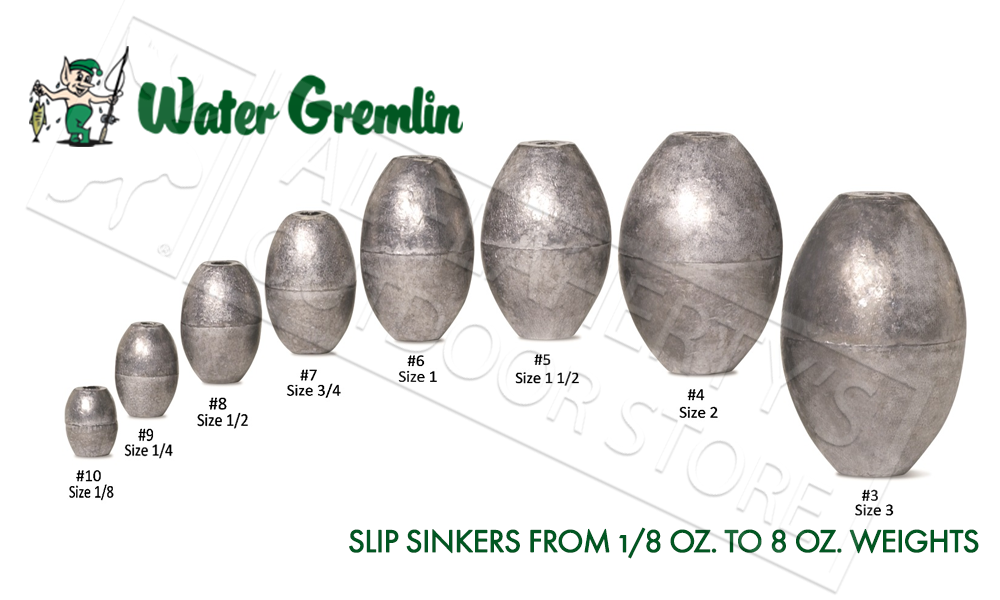 Water Gremlin Egg Sinkers, Zip Lip Packs, Sizes 10 to 2 #PEG