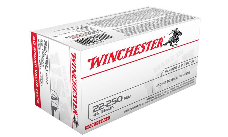 Winchester 22-250 Rem White Box, JHP 45 Grain Box of 40 #USA222502