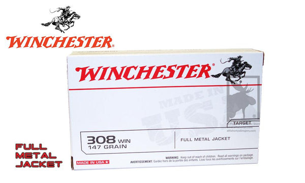Winchester .308 Box of 20, 147 Grain FMJ #USA3081