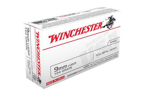 Winchester 9mm White Box, FMJ 124 Grain Box of 50 #USA9MM