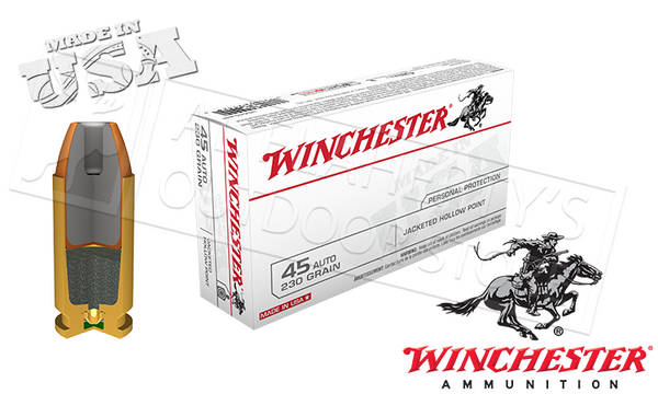 Winchester .45ACP White Box, JHP 230 Grain Box of 50 #USA45JHP