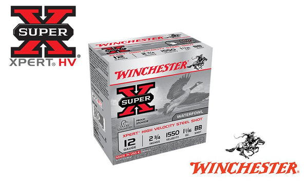 "<b>(Store Pickup Only)</b><br>12 Gauge, Winchester Super X Xpert High Velocity Waterfowl Shells, 2-3/4"" 1-1/16 oz., #BB Shot, 1550 FPS, Box of 25 #WEX12BB"