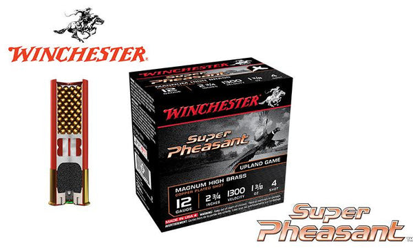 "<b>(Store Pickup Only)</b><br>12 Gauge, Winchester Super Pheasant Magnum Shells, 2-3/4"", 1-3/8 oz. #4, 5, or 6 Shot, 1300 FPS, Box of 25 <br>#X12PH"