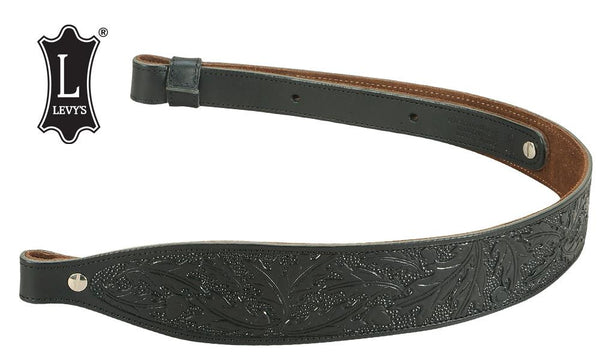 "Levy's Leathers Acorn & Oak Leaf Leather Cobra Rifle Sling, 29""-36"", Black #SN20T01-BLK"