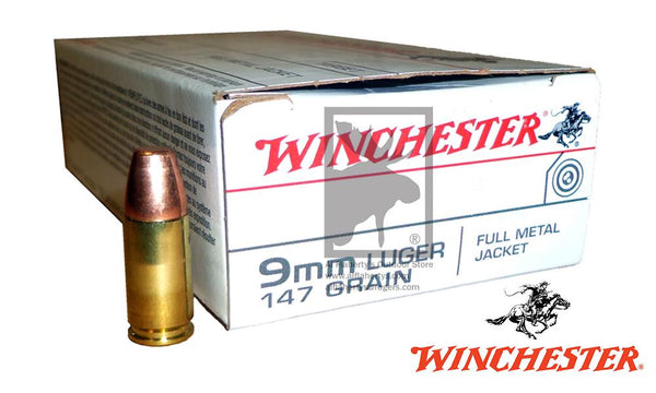 #USA9MM1 Winchester White Box 9mm 147g Truncated Full Metal Jacket