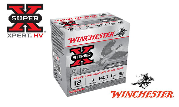 "<b>(Store Pickup Only)</b><br>12 Gauge, Winchester Super X Xpert High Velocity Waterfowl Shells, 3"" #BB Shot, 1-1/4 oz., 1400 FPS, Box of 25 #WEX123HBB"