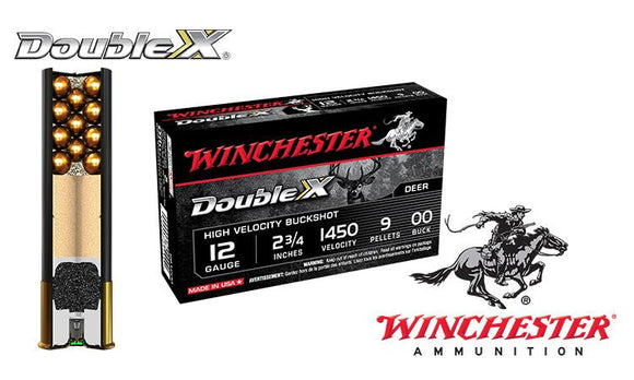 "12 Gauge - Winchester Double X Buckshot Shells, 2-3/4"" 00-Buck, Box of 5 #SB1200"