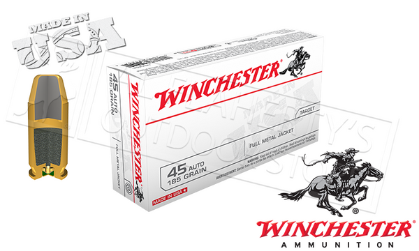 Winchester .45ACP White Box, FMJ 185 Grain Box of 50 #USA45A