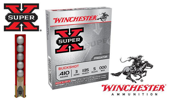 "<b>(Store Pickup Only)</b><br> .410 Gauge - Winchester Super X Buckshot, 3"" 000-Buck, Box of 5 #XB413"