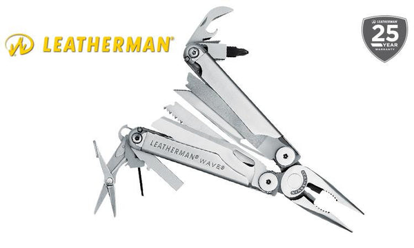 Leatherman Wave Multi-Tool, Stainless with Leather Sheath & Robertson Bit #830109